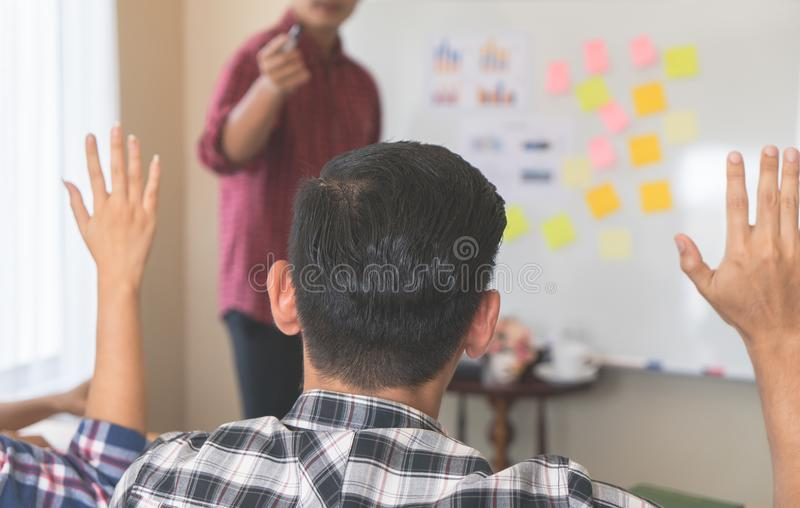 Business people are taking part in training conference. Casual business people are taking part in training conference royalty free stock image