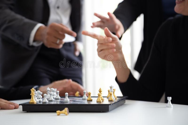 Business people talking discussing and gesturing for the new project, stock image
