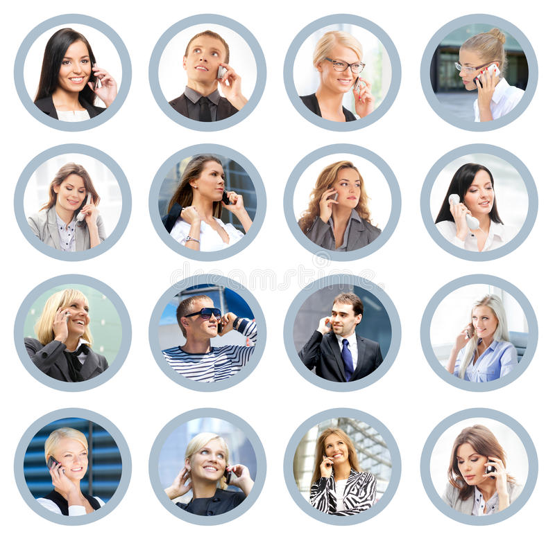 Business people talking on the telephone. Online support and communication concept stock image