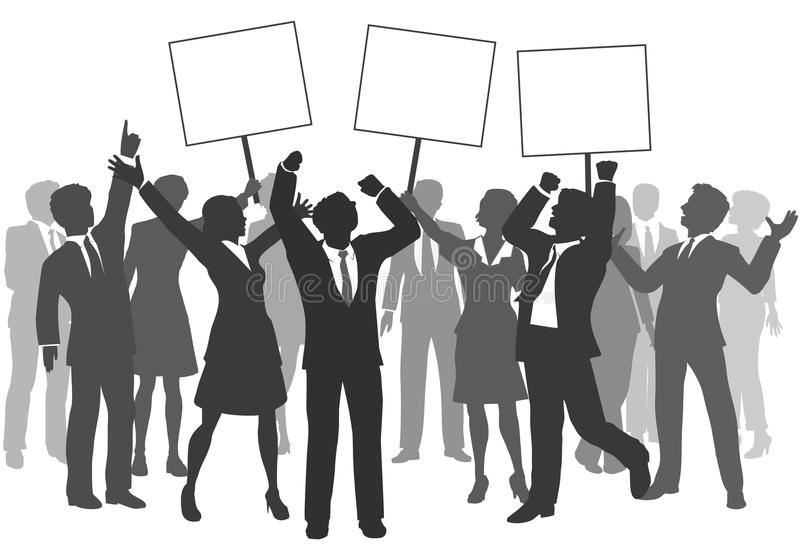 Business people team 3 signs celebrate success. Team of business men and women holding three signs to celebrate company success vector illustration