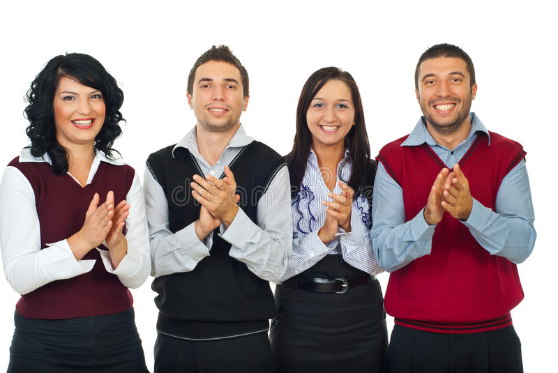 Business people team applauding royalty free stock photo