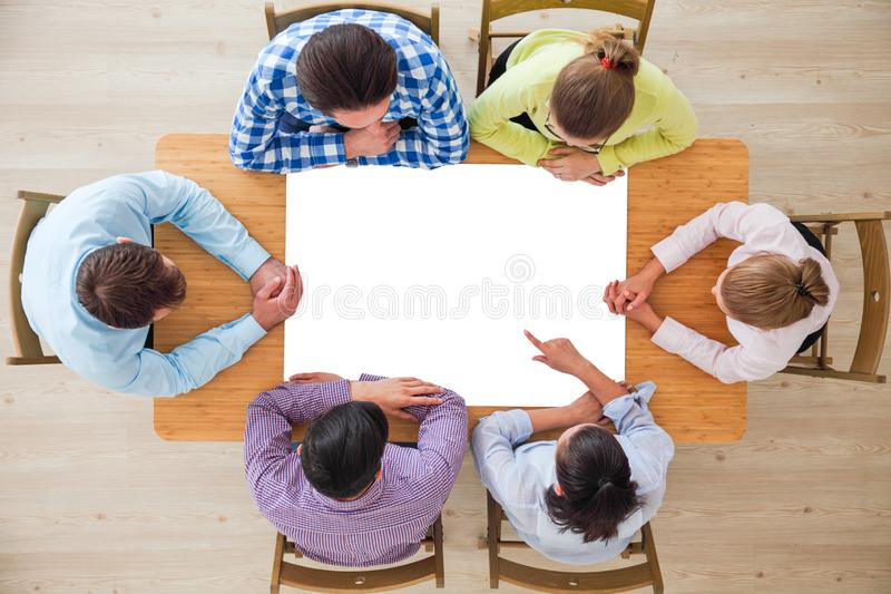 Business people team with blank paper stock images