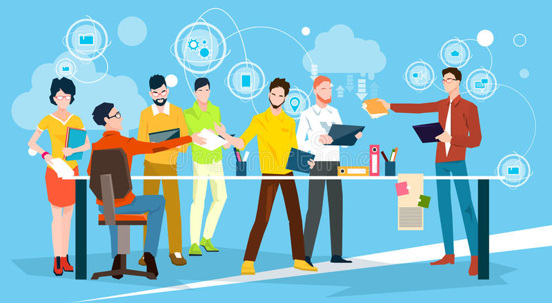 Business People Team Brainstorm Discussing Office Meeting stock illustration