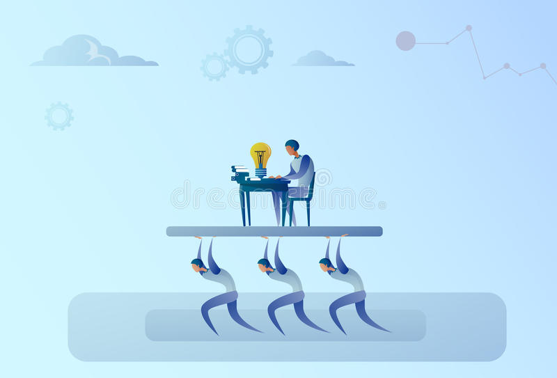 Business People Team Carry Boss Businessman Working On Computer Leadership Concept. Flat Vector Illustration vector illustration