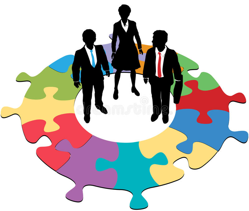 Business people team circular puzzle solution royalty free illustration