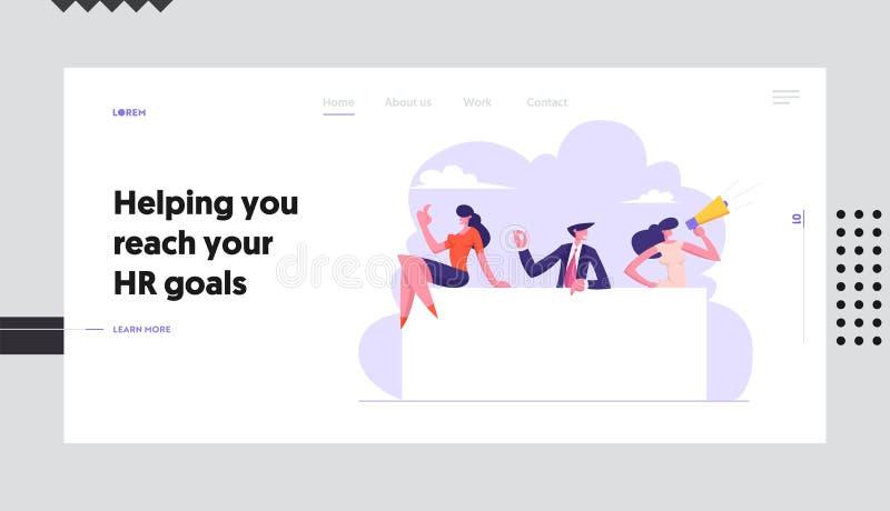 Business People Team con Megaphone Holding Blank Billboard Presentación empresarial, anuncio, concepto de contratación libre illustration