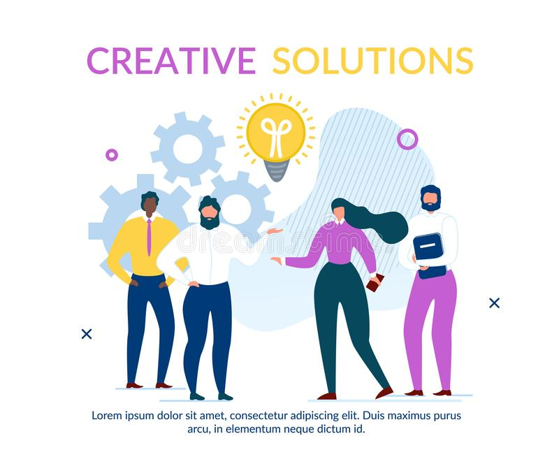 Business People Team Find Solution Text Banner royalty free illustration