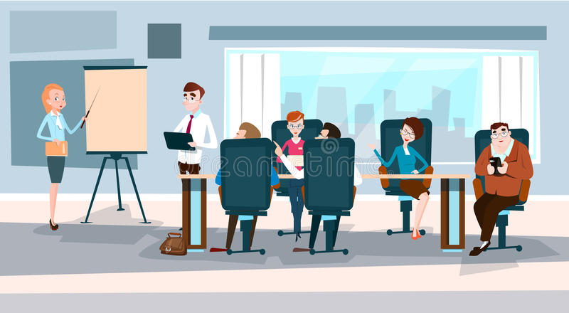 Business People Team With Flip Chart Seminar Training Conference Brainstorming Presentation. Financial Graph Flat Vector Illustration stock illustration