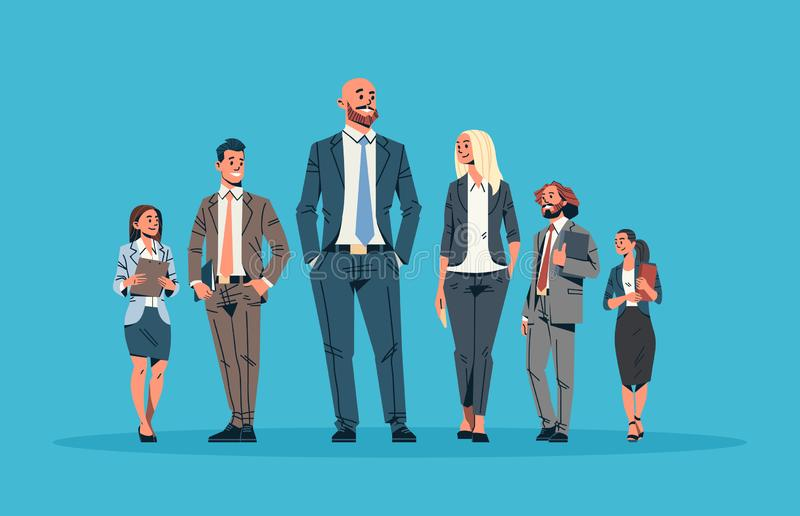 Business people team leader leadership concept businessmen women blue background male female cartoon character full. Length horizontal flat vector illustration royalty free illustration
