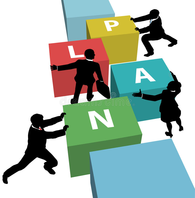 Business people team push PLAN together royalty free illustration
