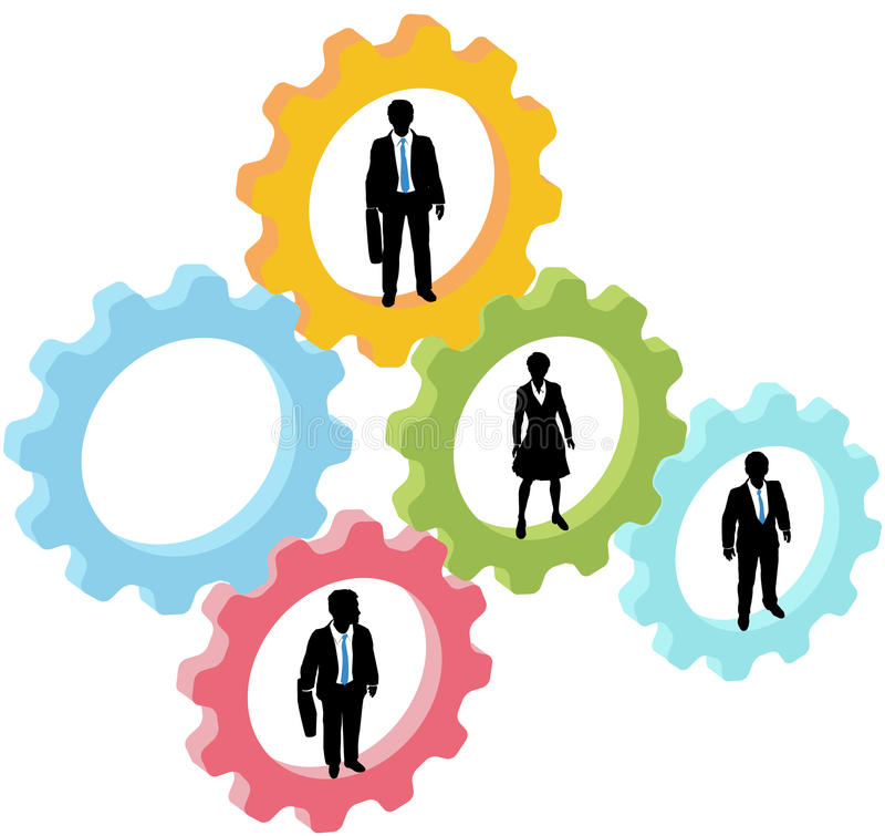 Business people team in technology gears royalty free illustration