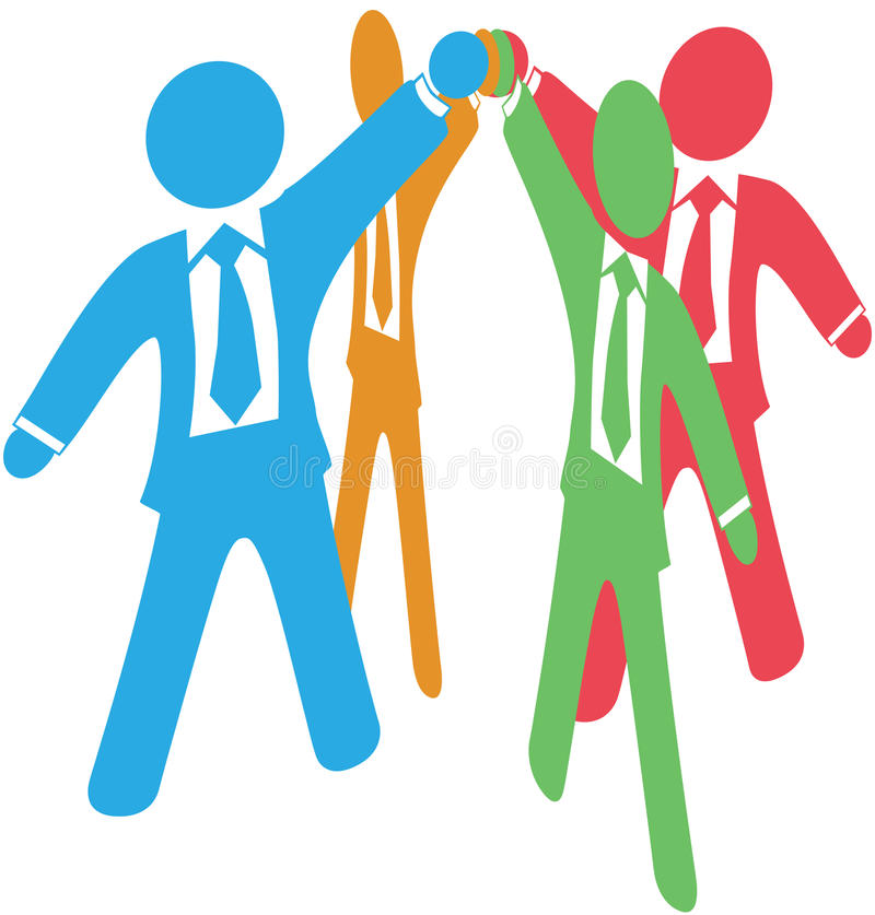 Business people team up work join hands. Business people team up join raised hands together to collaborate or celebrate vector illustration