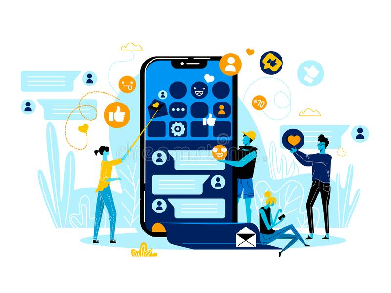 Business People Team Work at Smartphone with App royalty free illustration