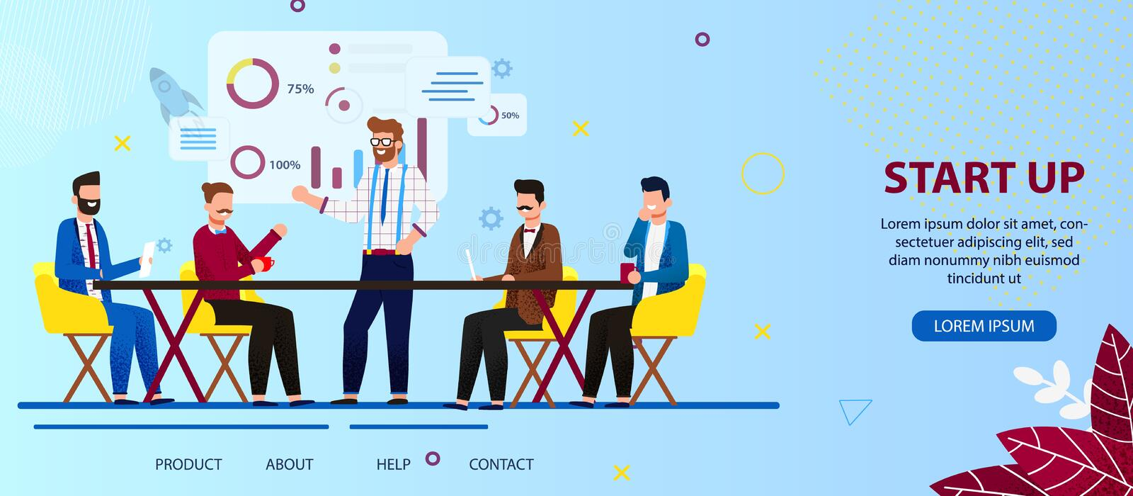 Business People Team Work on Start Up Technology. royalty free illustration
