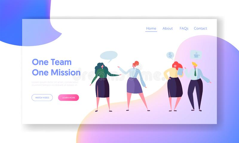 Business People Teamwork Communication Landing Page. Corporate Community Team Character Conversation. Company stock illustration