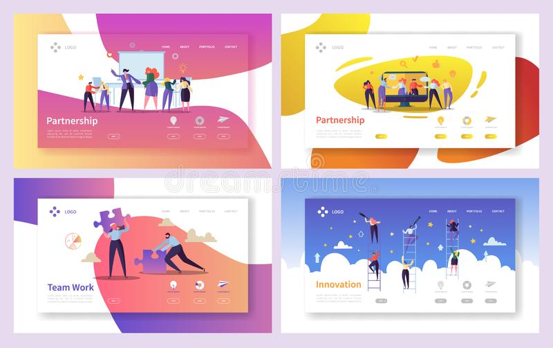 Business People Teamwork Innovation Landing Page Set. Creative Character Team Partnership to Increase Company Success stock illustration