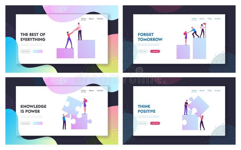 Business People Teamwork Project Website Landing Page Set. Businessmen Pull Teammates Businesswomen to Graph. Peak Creative Team Set Up Puzzle Elements Web Page stock illustration