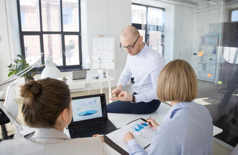 Close up of businessman giving arguments at office stock photos