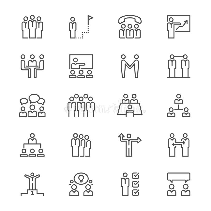 Business people thin icons. Simple, Clear and sharp. Easy to resize vector illustration