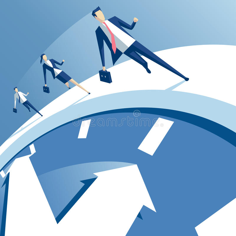 Business people and time. Business people run on the white clock, businessmen try to outrun time. business concept of time pressure and race against time vector vector illustration