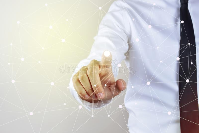 Businessman touching on visual screen stock images