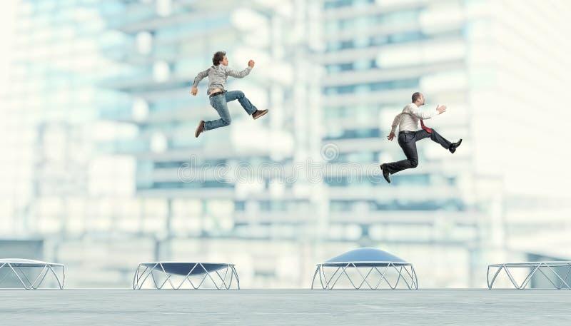Business people on trampoline vector illustration