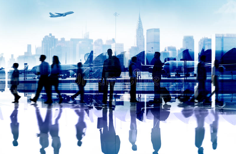 Business People Travel Departure Aiport Passenger Concept. Business People Travel Departure Aiport Passenger Terminal Concept royalty free stock photos