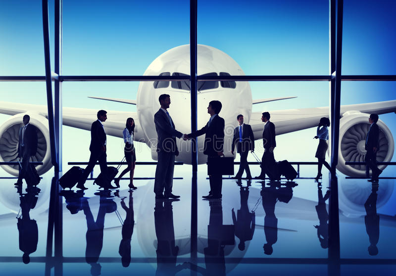 Business People Travel Handshake Airport Concepts royalty free stock photography