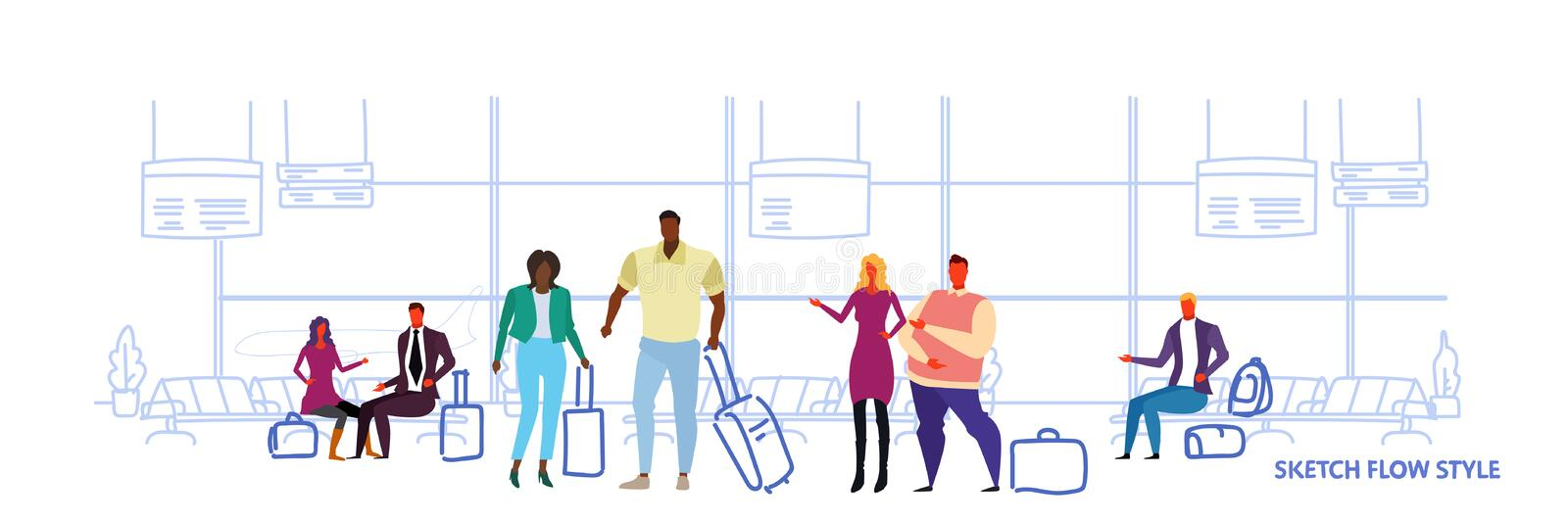 Business people travelers standing in airport waiting hall departure lounge interior mix race passengers waiting with. Baggage sketch flow style horizontal royalty free illustration