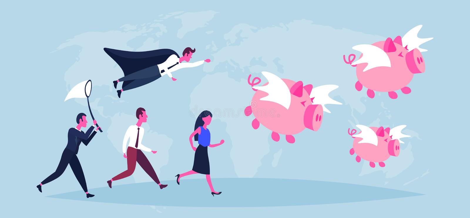 Business people trying catch flying piggybank pigs growth wealth concept businessman woman world map background money. Piggy bank horizontal flat vector vector illustration