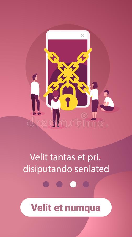 Business people trying get access chain padlock smartphone data protection concept mobile application man woman working. Together flat copy space vertical vector illustration