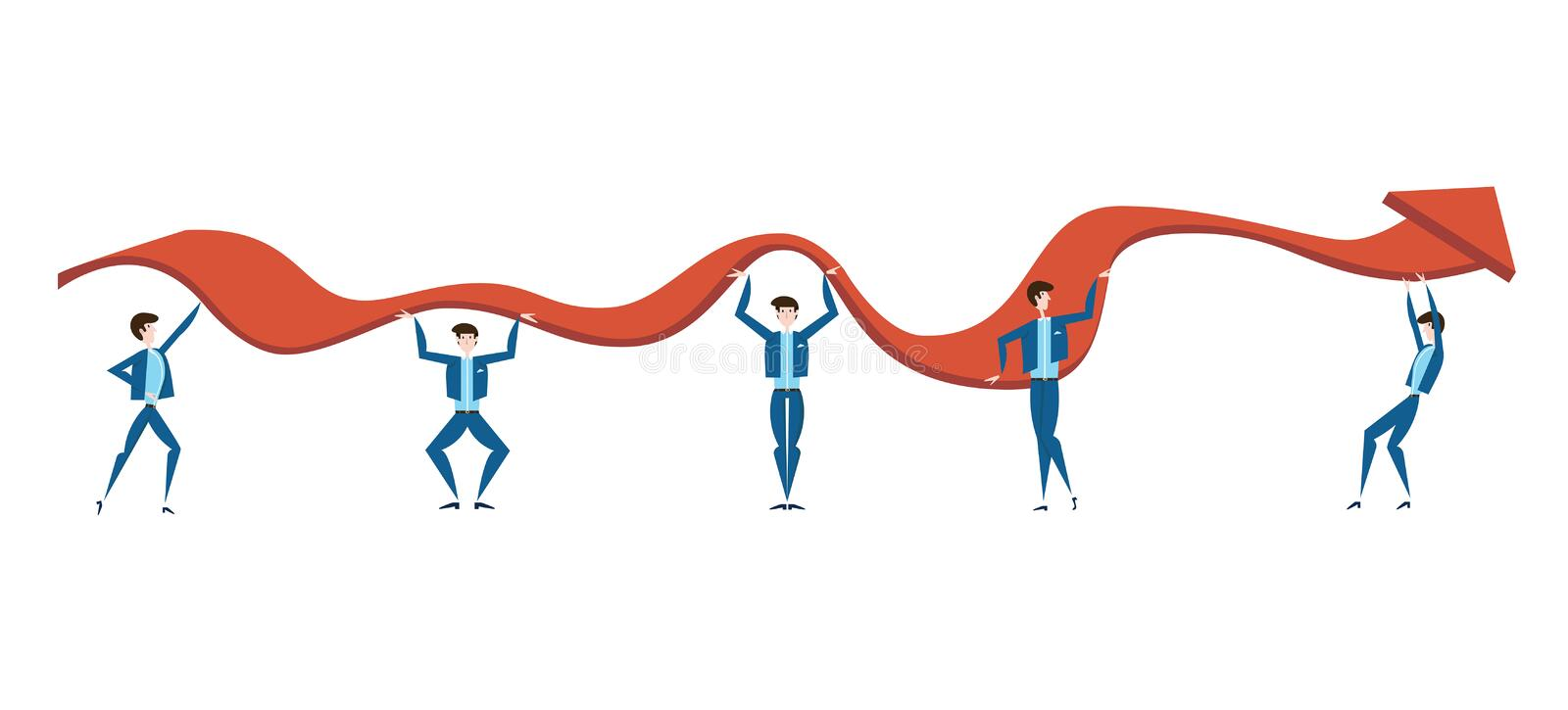 Business people are trying to raise the graph of growth of income of the company. The concept of teamwork. Vector royalty free illustration