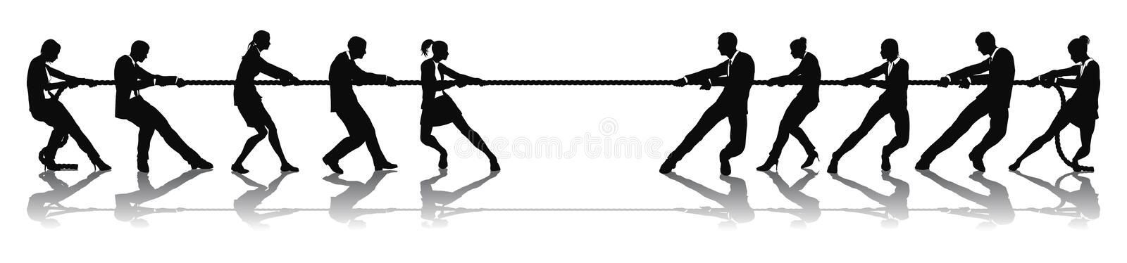 Business people tug of war competition stock illustration