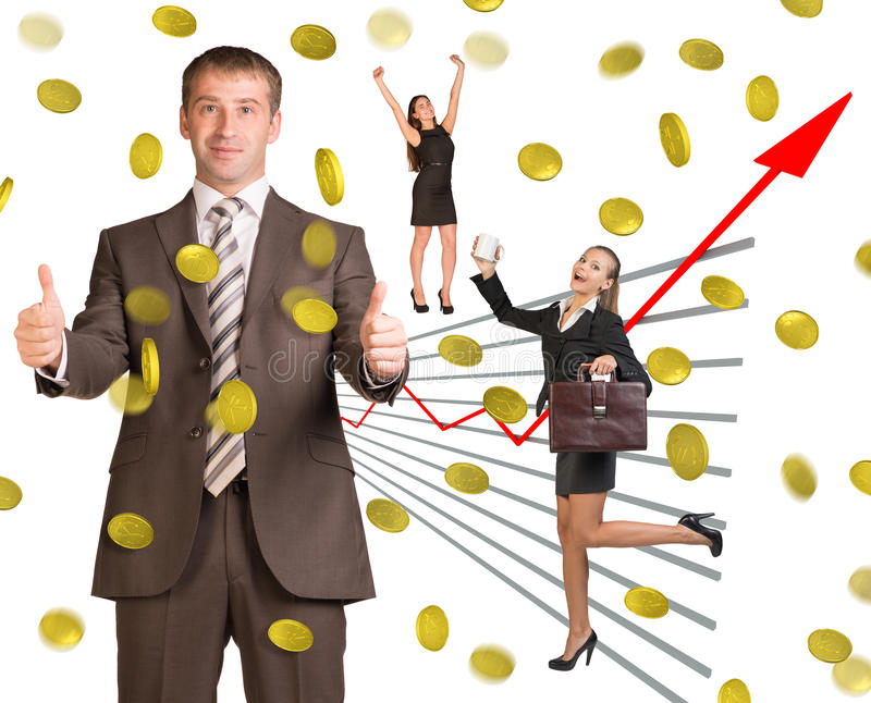 Business people under money rain. On white background royalty free stock photography