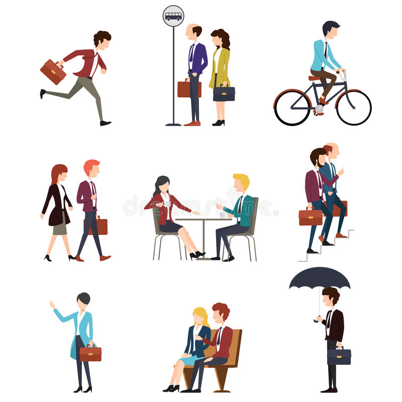 Business people in urban outdoor activity. Vector stock illustration