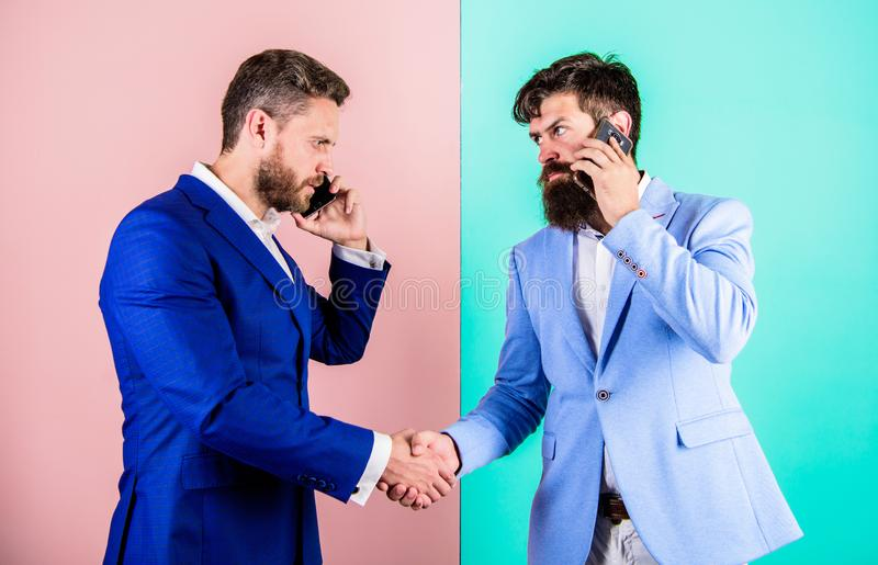 Business people use internet modern technologies for communication. Busy with conversation confirm arrangements. Call. Business partner. Businessmen use modern stock photos