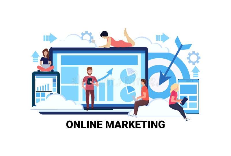 Business people using gadgets graphs diagram online marketing e-commerce internet statistics concept man woman teamwork royalty free illustration