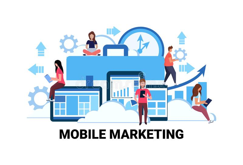 Business people using gadgets mobile marketing e-commerce internet advertising promotion concept man woman teamwork vector illustration