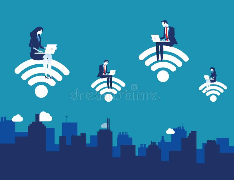 Business people using laptop with internet support business and lifestyle. Concept business vector illustration stock illustration