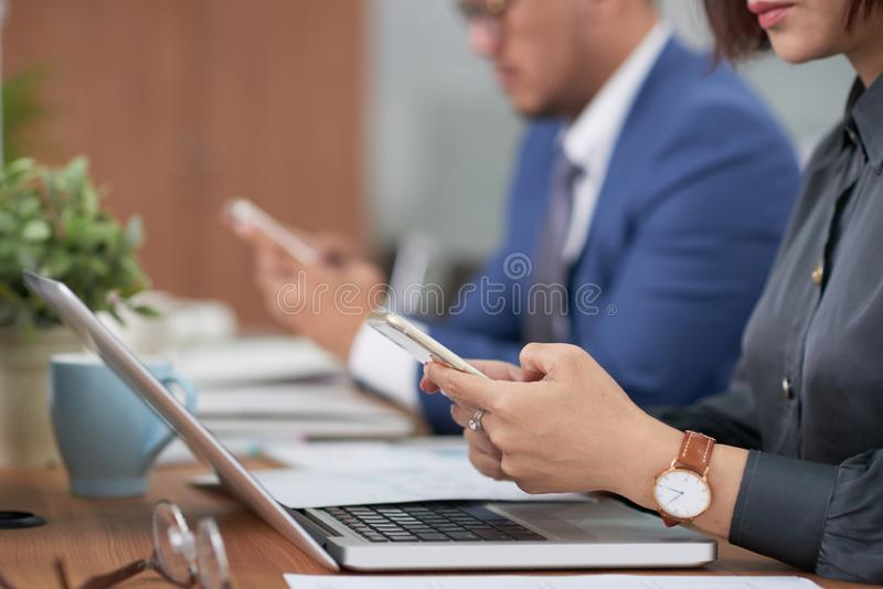 Business people using mobile phones royalty free stock photo