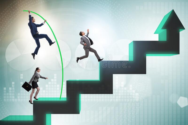 Business people vault jumping over bar charts royalty free stock image