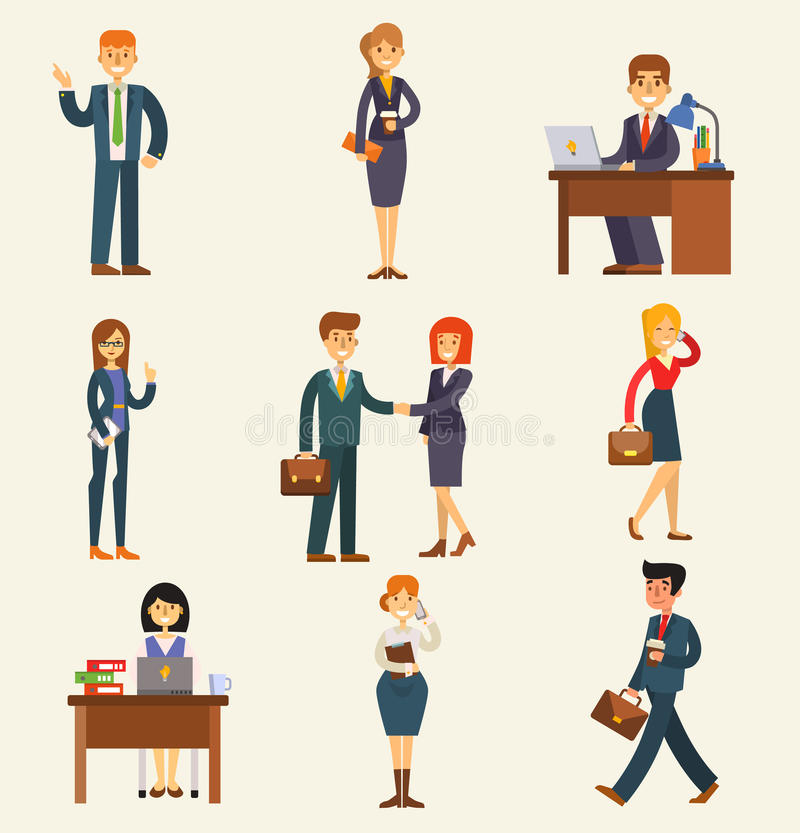 Business people vector set corporate teamwork happy office success business professional work person meeting businessman royalty free illustration