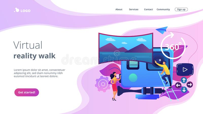 Virtual tour concept landing page. Business people on virtual reality tour 360 watching beautiful landscape and a camera. Virtual tour, 3d reality tours royalty free illustration