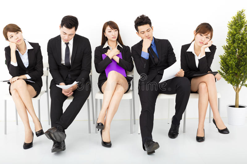 Business people waiting for interview stock photo