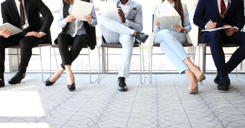 Business people. Waiting for job interview royalty free stock photography