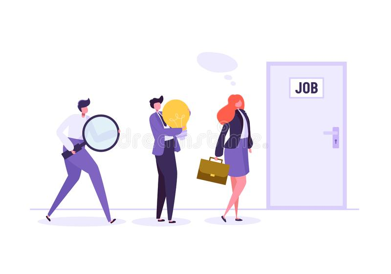 Business People Waiting for Job Interview in Front of the Door. Businessman and Businesswoman in Search of new Job. Vector illustration royalty free illustration