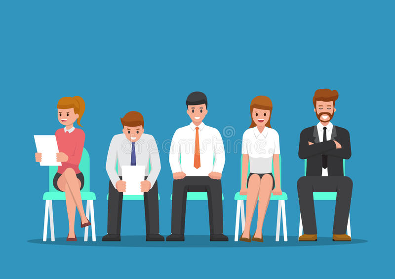 Business people waiting for job interview. vector illustration