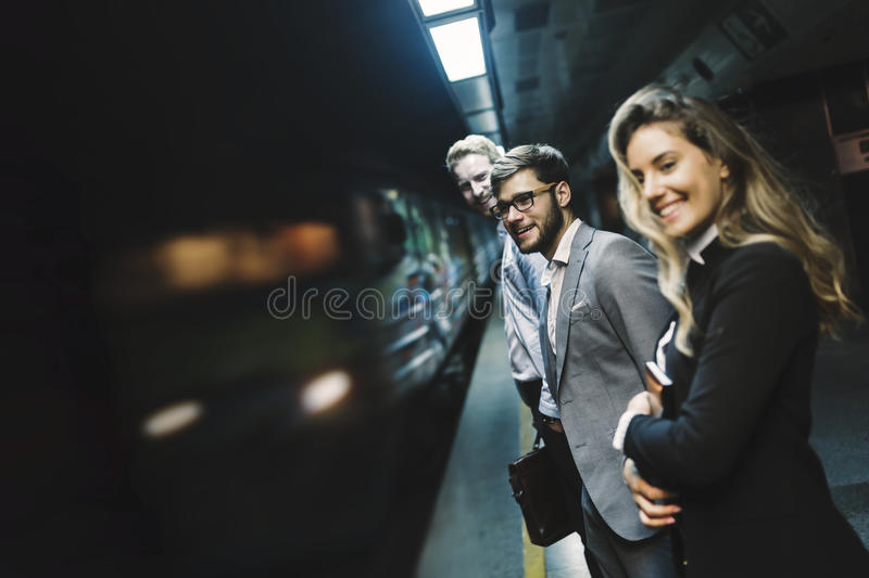 Business people waiting for subway. Business people waiting for transportation underground stock image