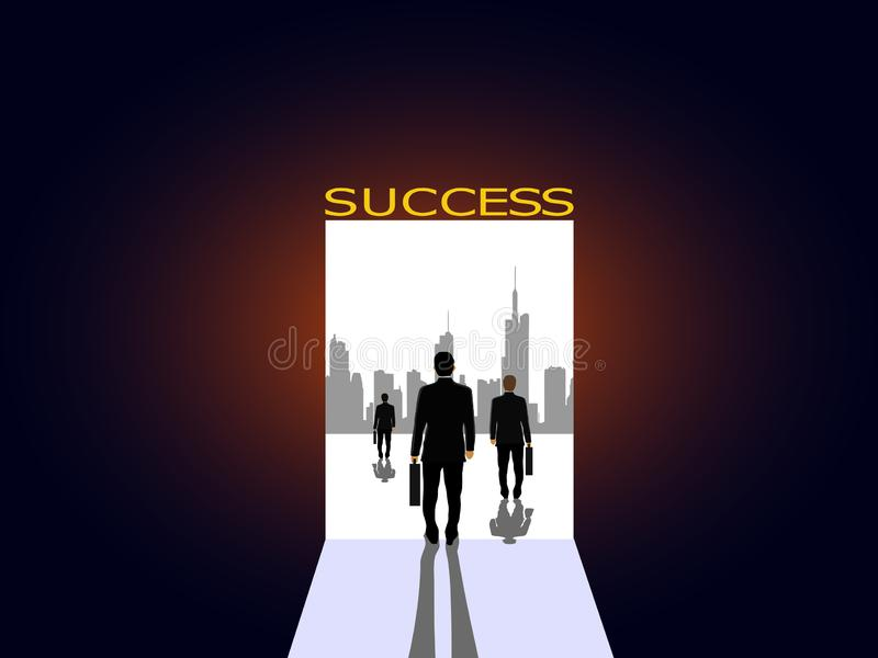 Business people walk from the dark to the door of light of success stock photo
