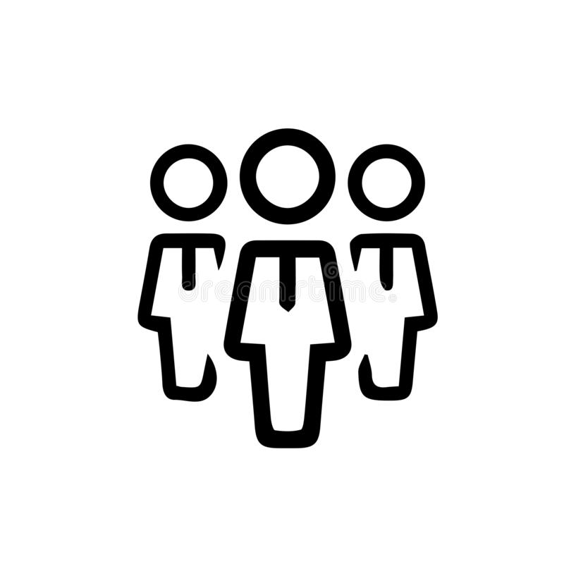 Business people walking black and white simple linear business icon stock illustration